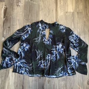 ASTR the Label Floral Bell Sleeve Blouse Top XL